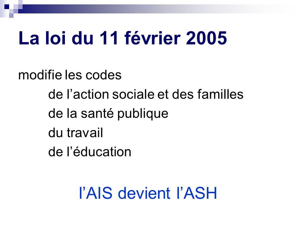 La loi du 11 février 2005 l'AIS devient l'ASH modifie les codes