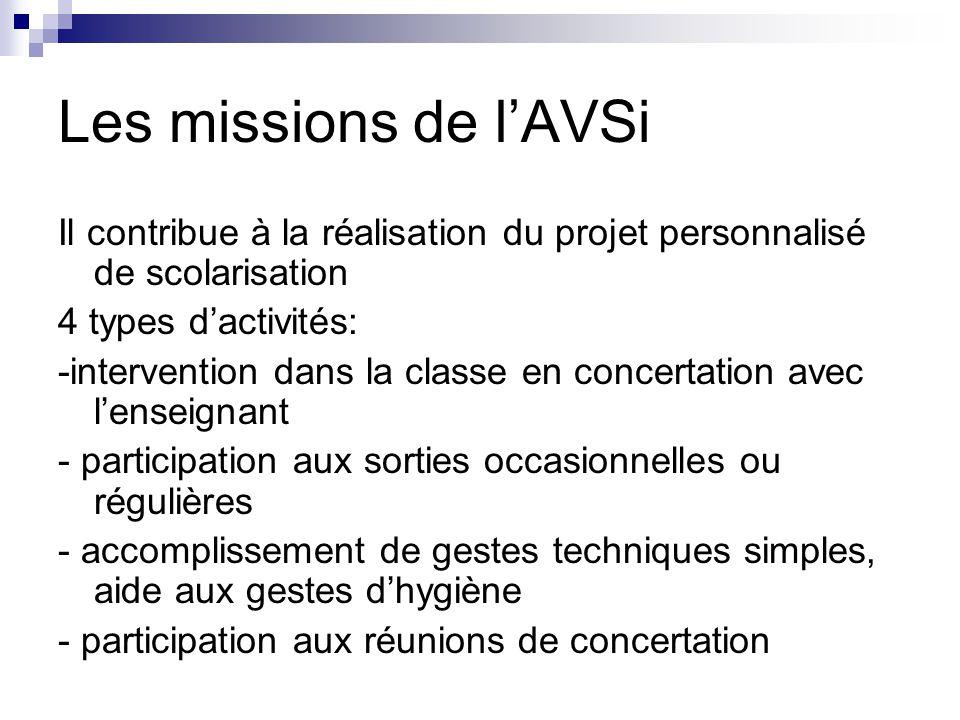 Les missions de l'AVSi Il contribue à la réalisation du projet personnalisé de scolarisation. 4 types d'activités: