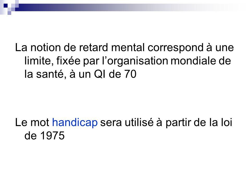 La notion de retard mental correspond à une limite, fixée par l'organisation mondiale de la santé, à un QI de 70