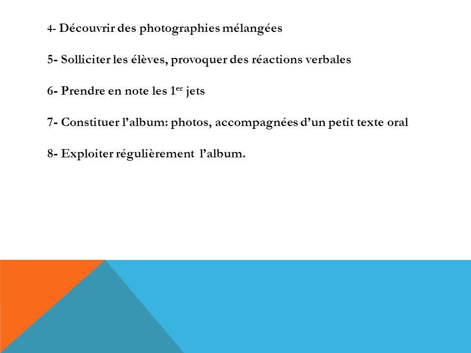 4- Découvrir des photographies mélangées 5- Solliciter les élèves, provoquer des réactions verbales 6- Prendre en note les 1er jets 7- Constituer l'album: photos, accompagnées d'un petit texte oral 8- Exploiter régulièrement l'album.