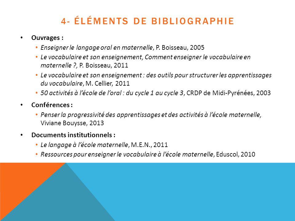 4- Éléments de bibliographie