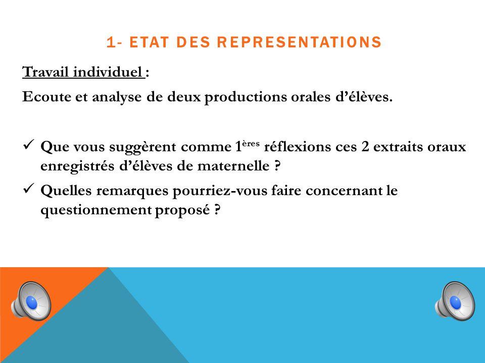 1- ETAT DES REPRESENTATIONS