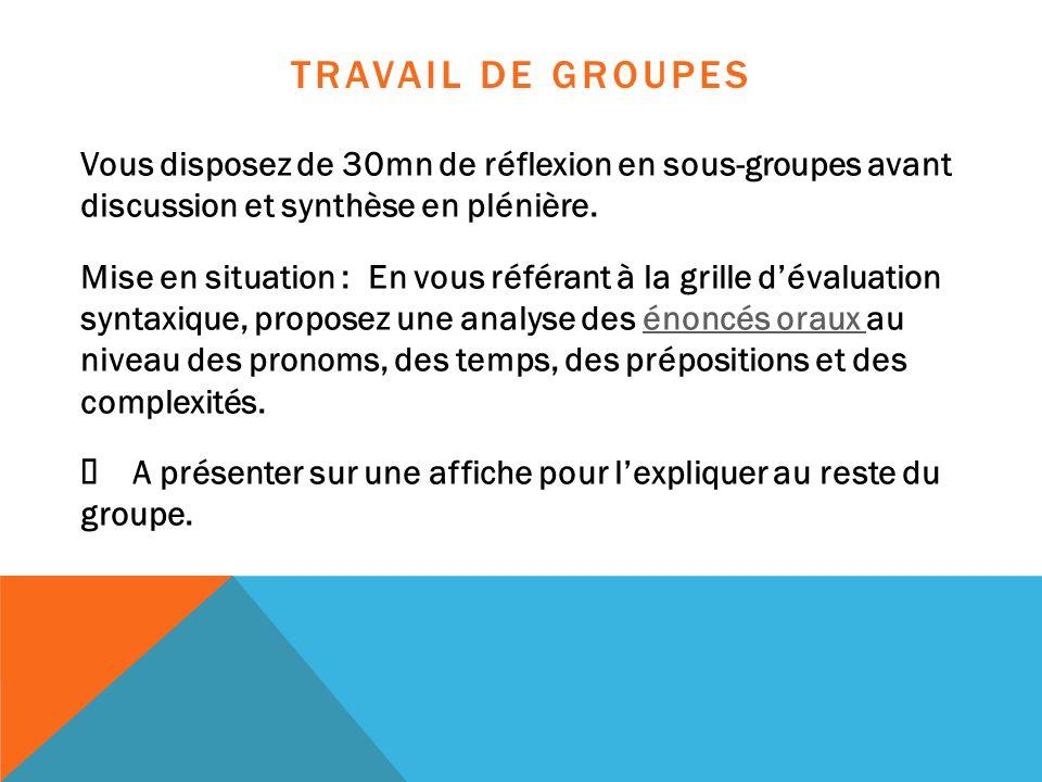 TRAVAIL DE GROUPES