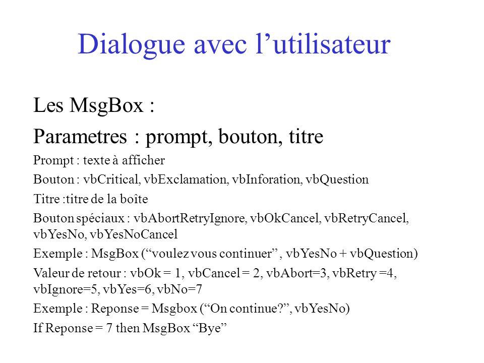 Dialogue avec l'utilisateur