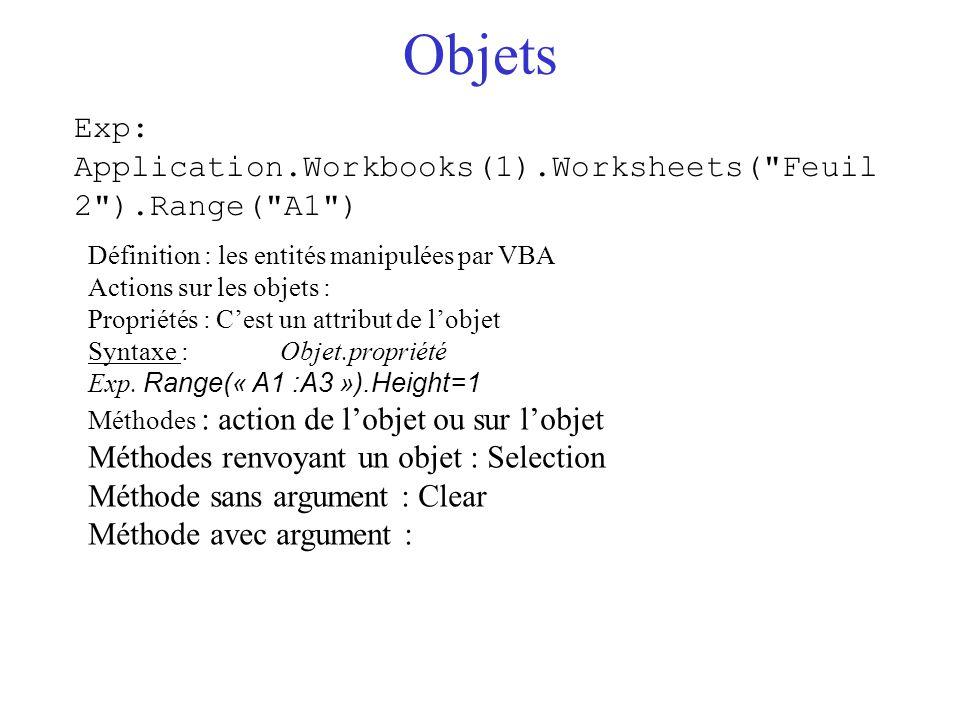 Objets Exp: Application.Workbooks(1).Worksheets( Feuil2 ).Range( A1 )