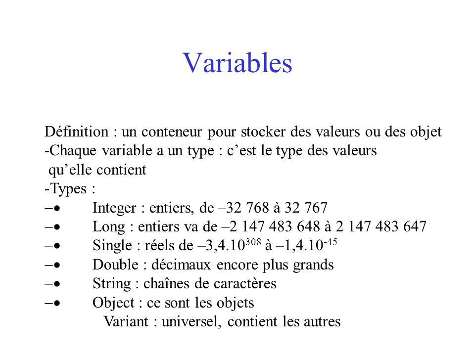 Variables Définition : un conteneur pour stocker des valeurs ou des objet. -Chaque variable a un type : c'est le type des valeurs.