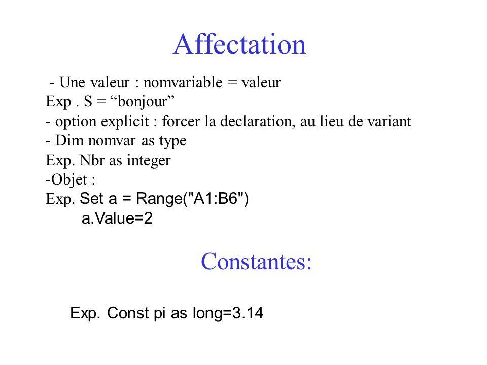 Affectation Constantes: - Une valeur : nomvariable = valeur