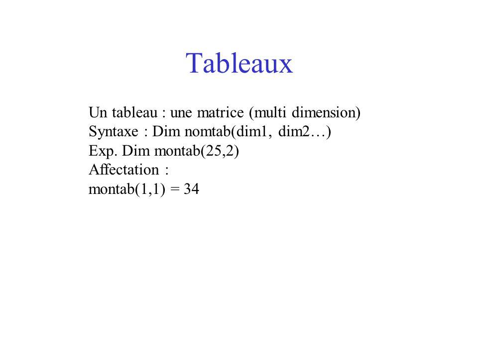 Tableaux Un tableau : une matrice (multi dimension)