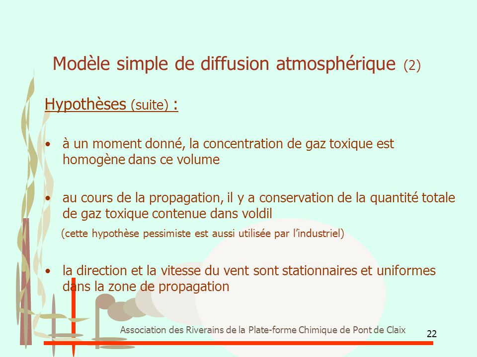 Modèle simple de diffusion atmosphérique (2)