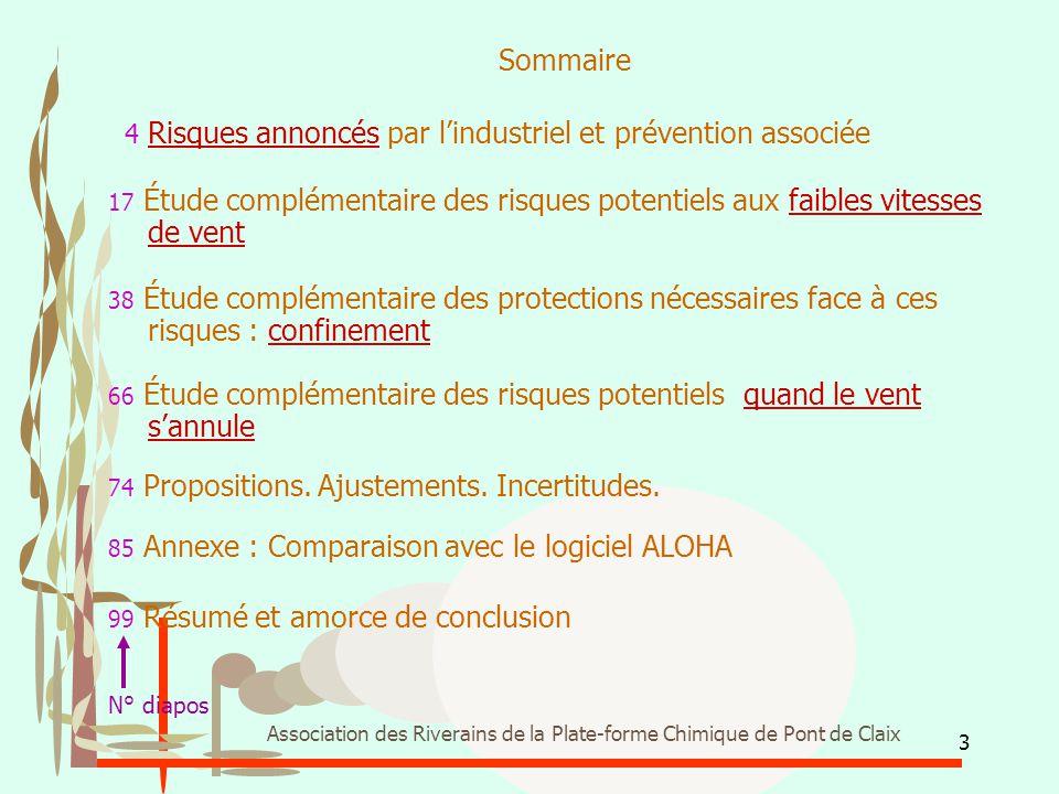 Sommaire 4 Risques annoncés par l'industriel et prévention associée