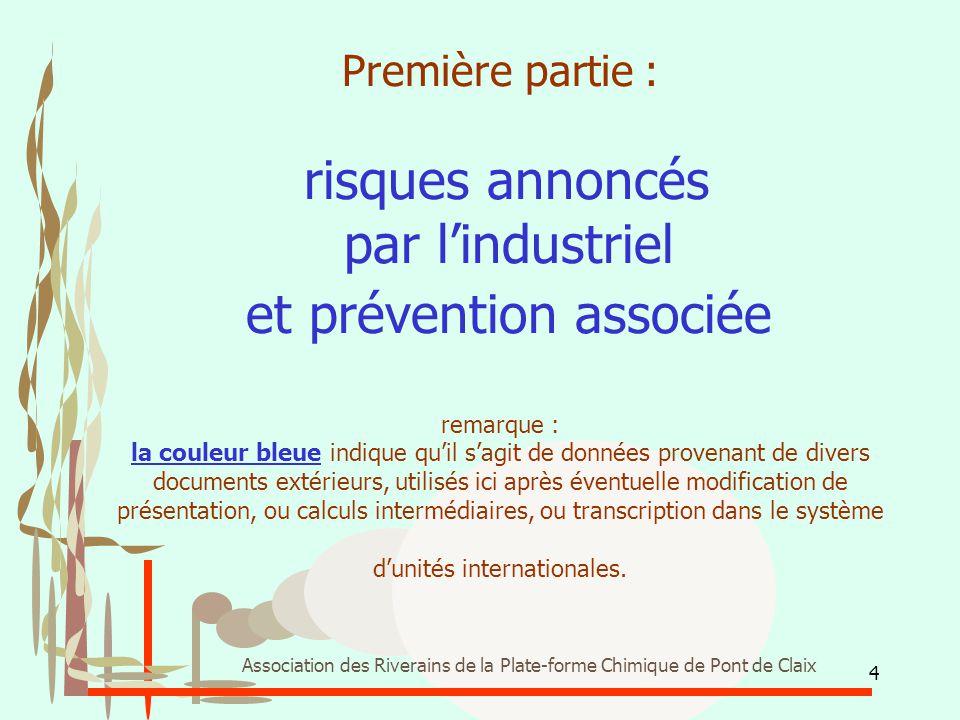 Première partie : risques annoncés par l'industriel et prévention associée remarque : la couleur bleue indique qu'il s'agit de données provenant de divers documents extérieurs, utilisés ici après éventuelle modification de présentation, ou calculs intermédiaires, ou transcription dans le système d'unités internationales.