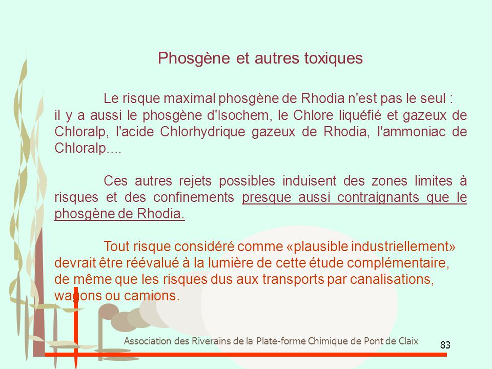 Phosgène et autres toxiques