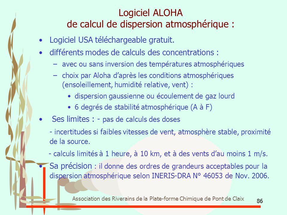 Logiciel ALOHA de calcul de dispersion atmosphérique :