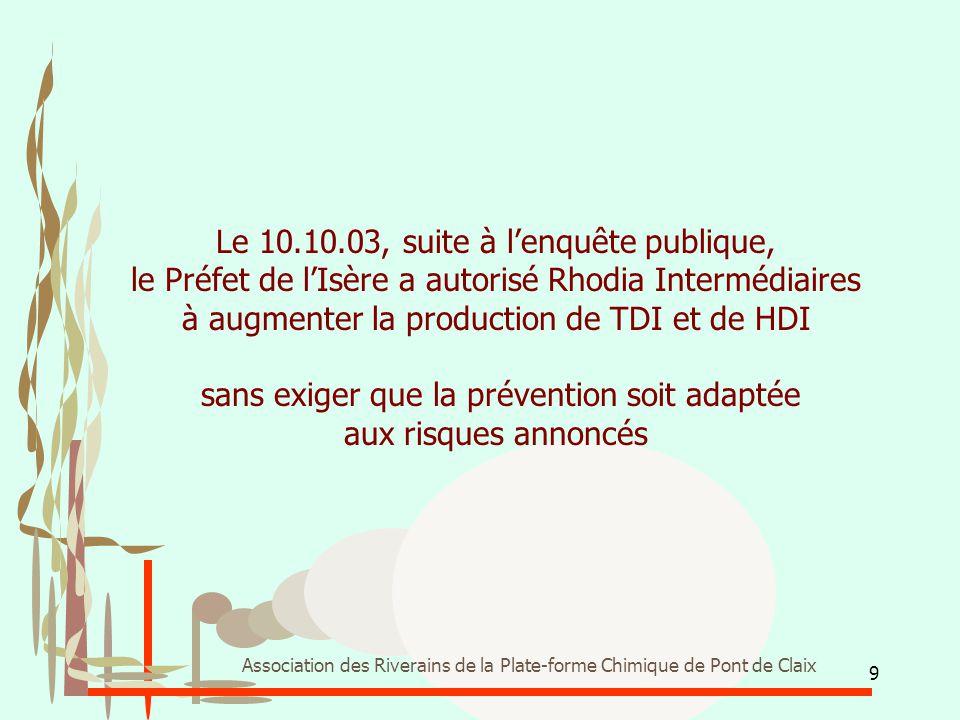 Le 10.10.03, suite à l'enquête publique, le Préfet de l'Isère a autorisé Rhodia Intermédiaires à augmenter la production de TDI et de HDI sans exiger que la prévention soit adaptée aux risques annoncés