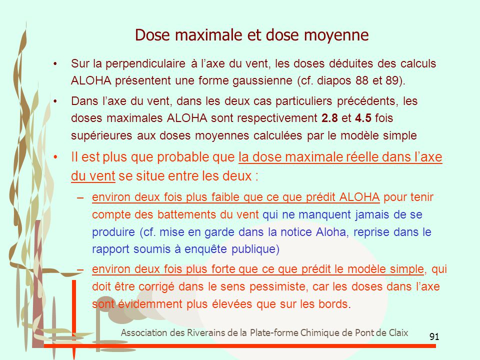 Dose maximale et dose moyenne