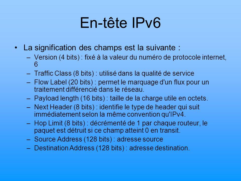 En-tête IPv6 La signification des champs est la suivante :
