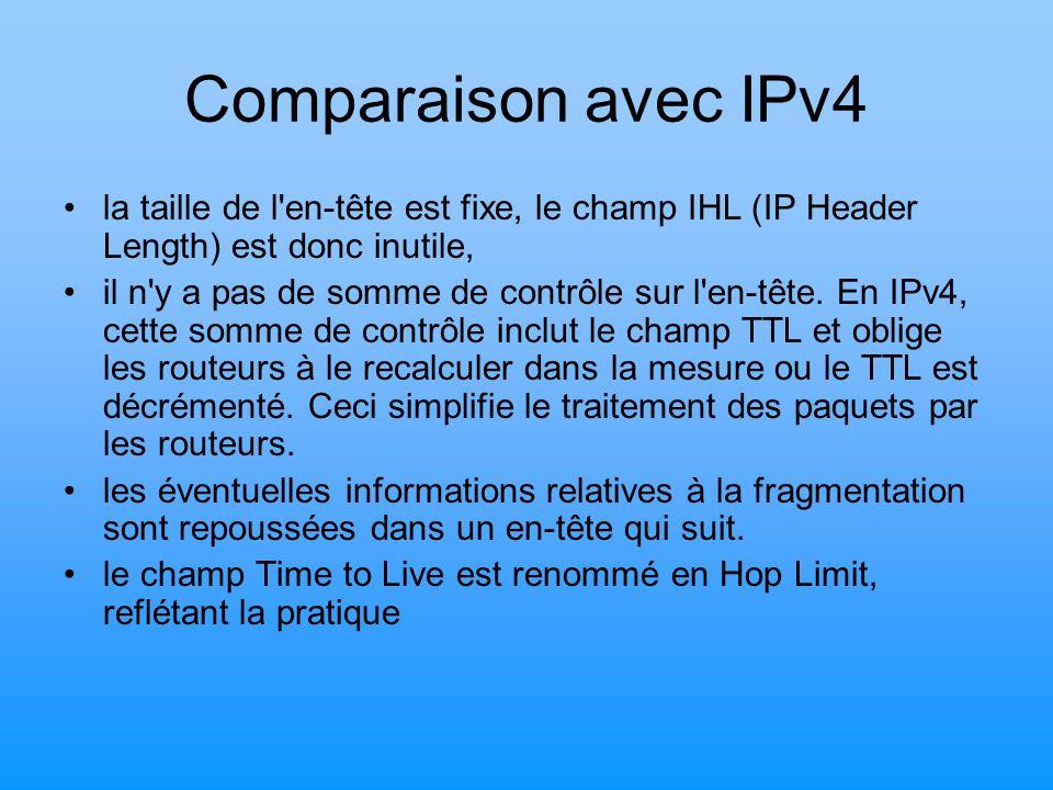 Comparaison avec IPv4 la taille de l en-tête est fixe, le champ IHL (IP Header Length) est donc inutile,