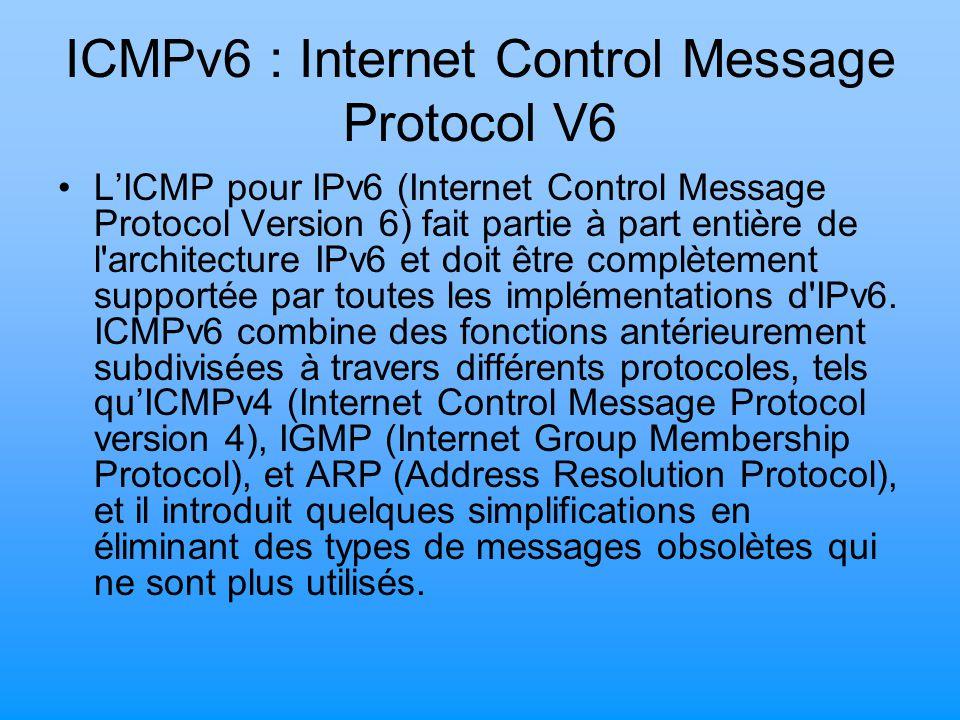 ICMPv6 : Internet Control Message Protocol V6