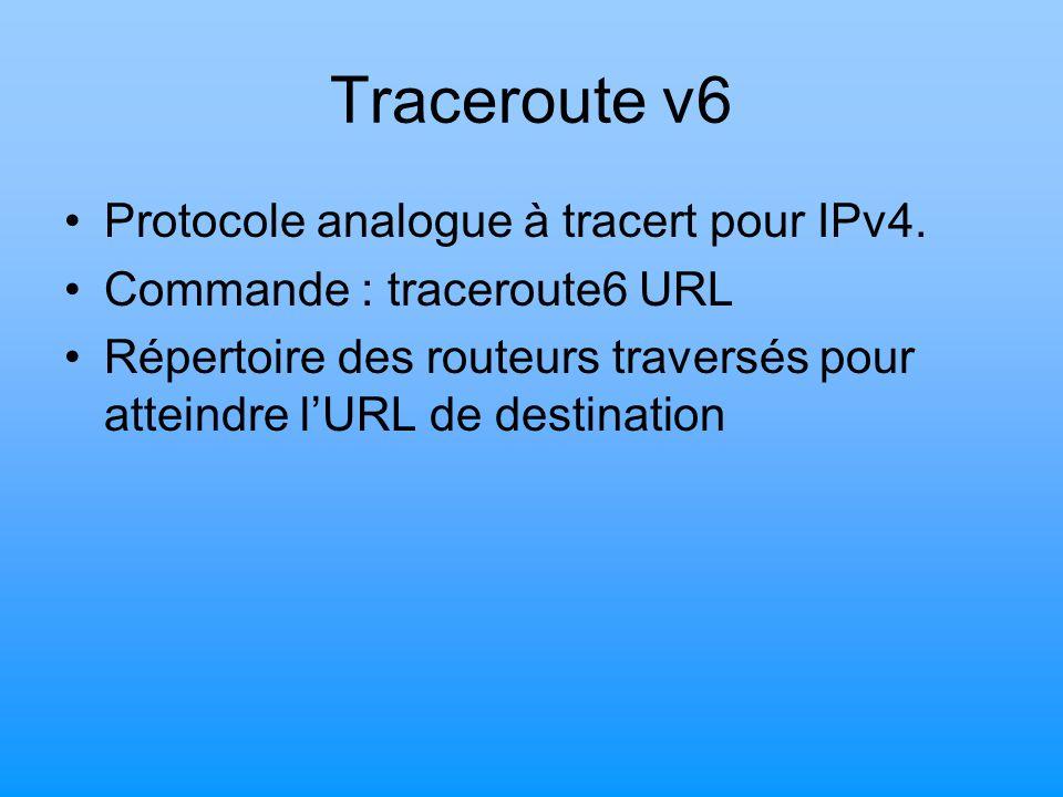 Traceroute v6 Protocole analogue à tracert pour IPv4.