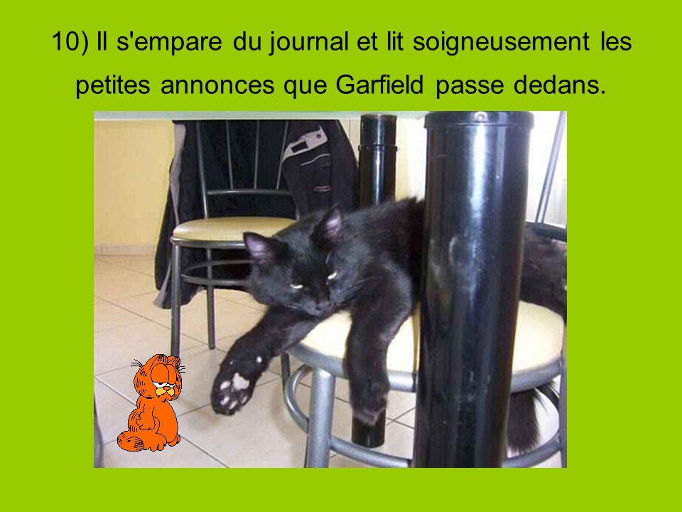 10) Il s empare du journal et lit soigneusement les petites annonces que Garfield passe dedans.