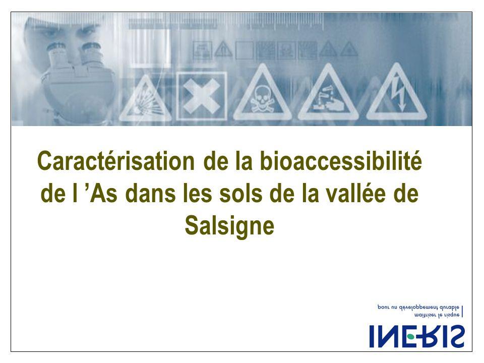 Caractérisation de la bioaccessibilité de l 'As dans les sols de la vallée de Salsigne