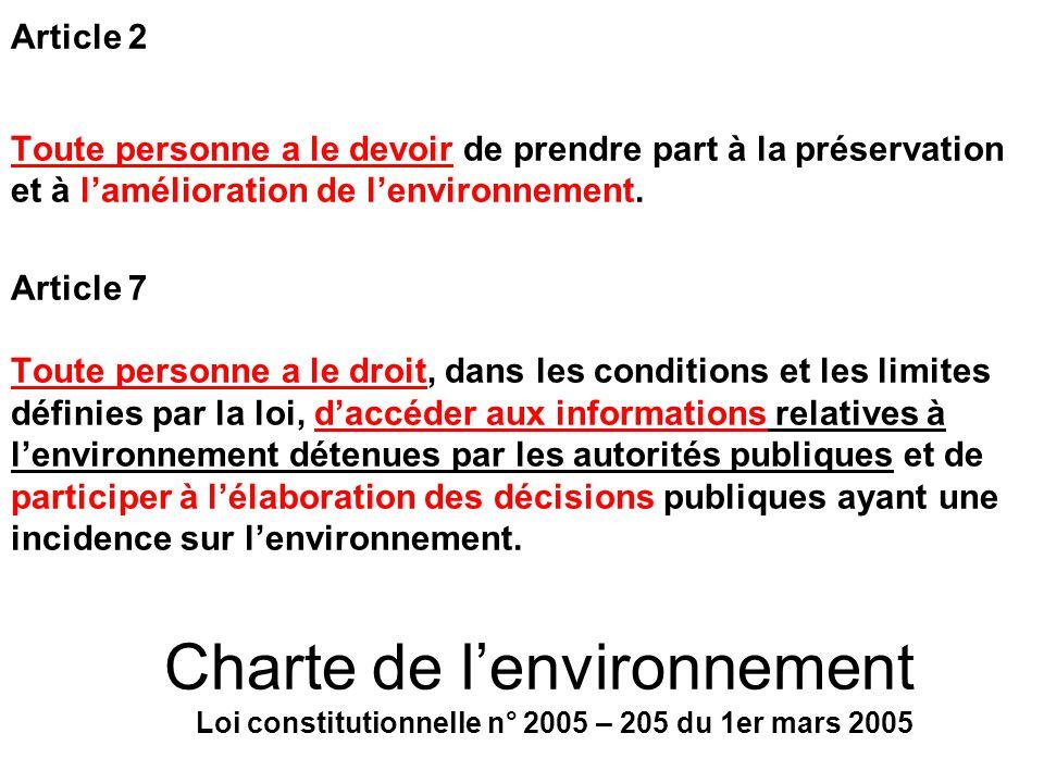 Article 2 Toute personne a le devoir de prendre part à la préservation et à l'amélioration de l'environnement.