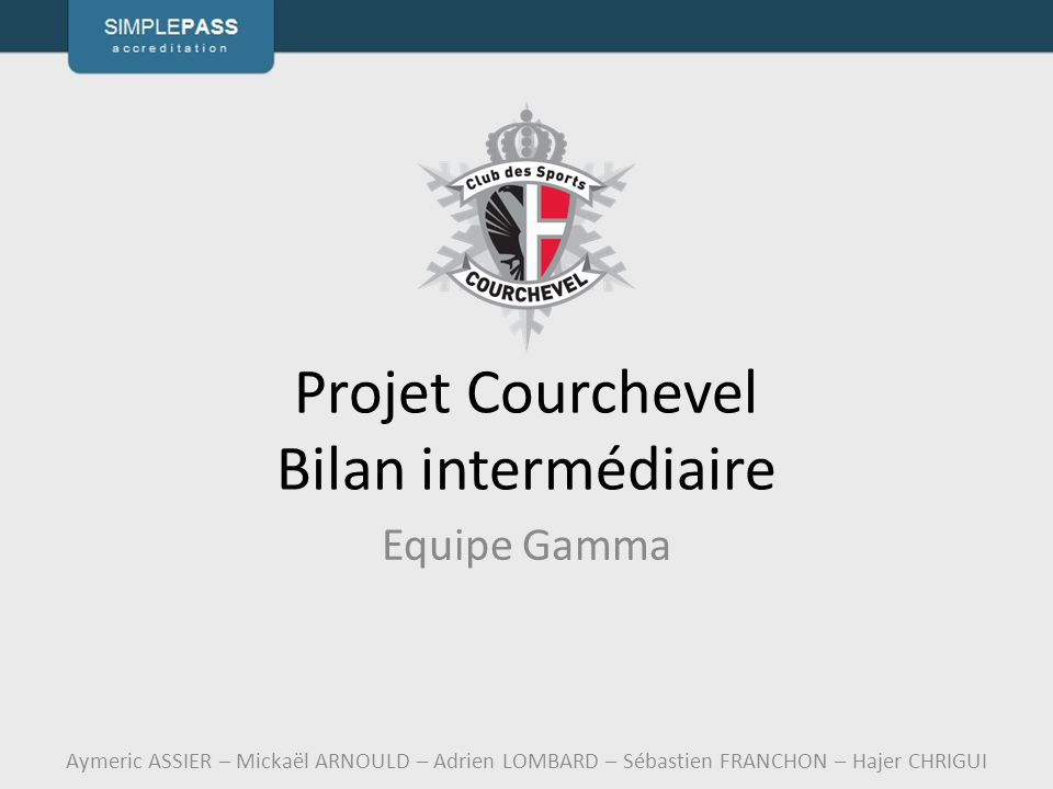 Projet Courchevel Bilan intermédiaire