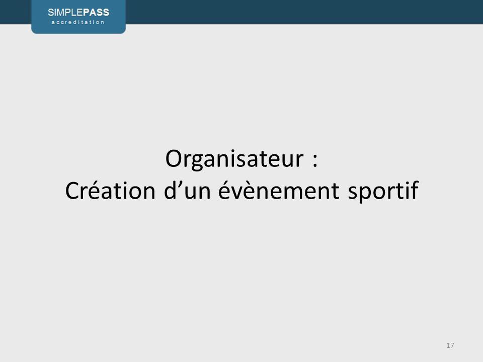 Organisateur : Création d'un évènement sportif