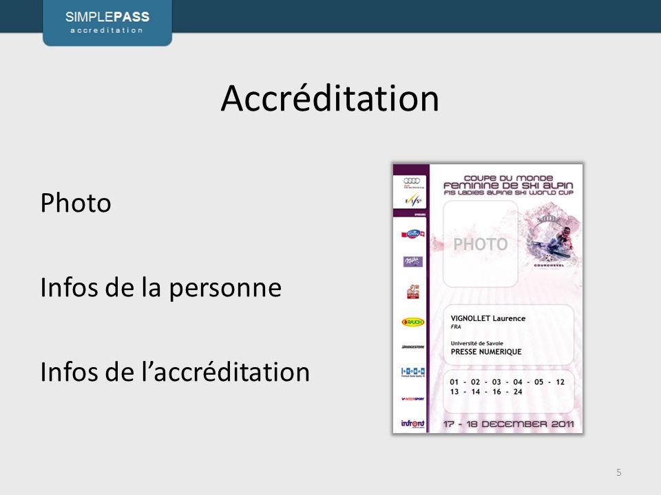 Accréditation Photo Infos de la personne Infos de l'accréditation