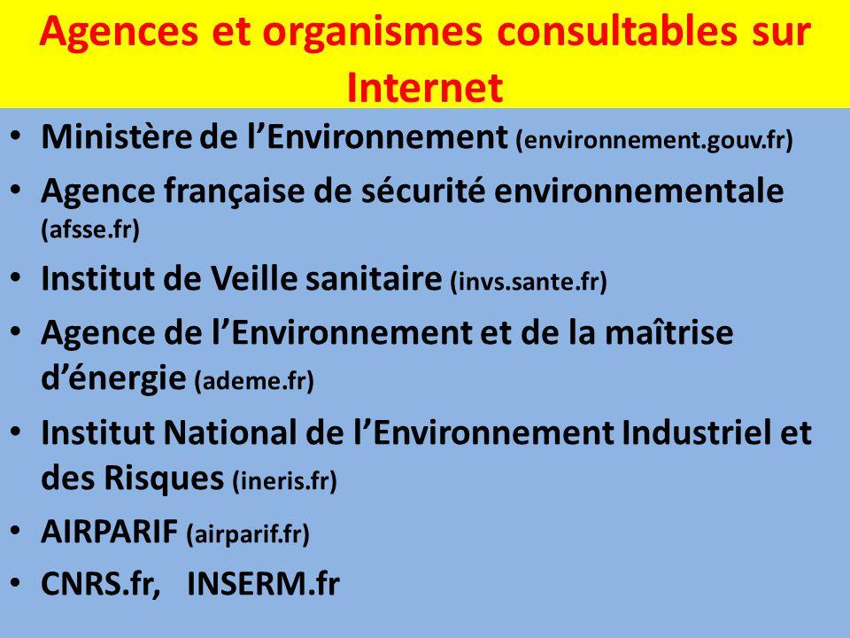 Agences et organismes consultables sur Internet