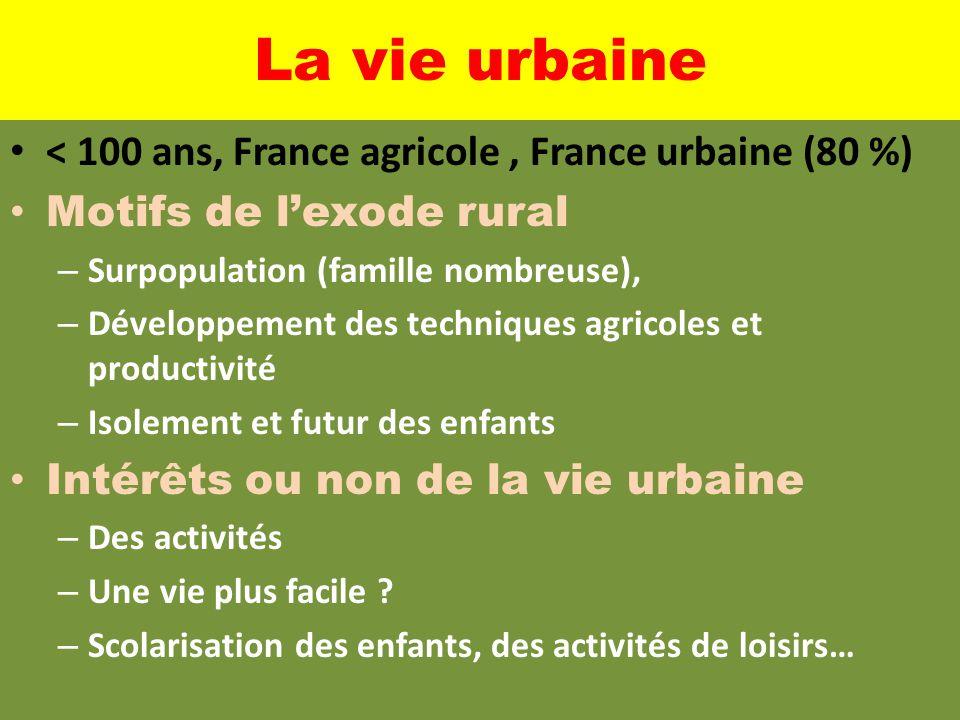 La vie urbaine < 100 ans, France agricole , France urbaine (80 %)