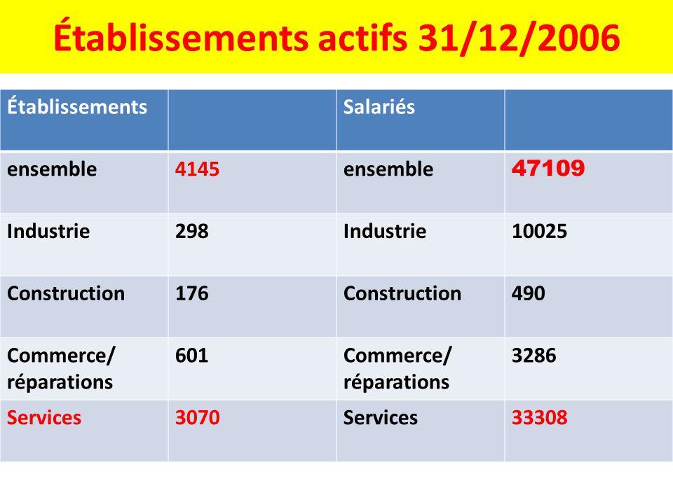 Établissements actifs 31/12/2006