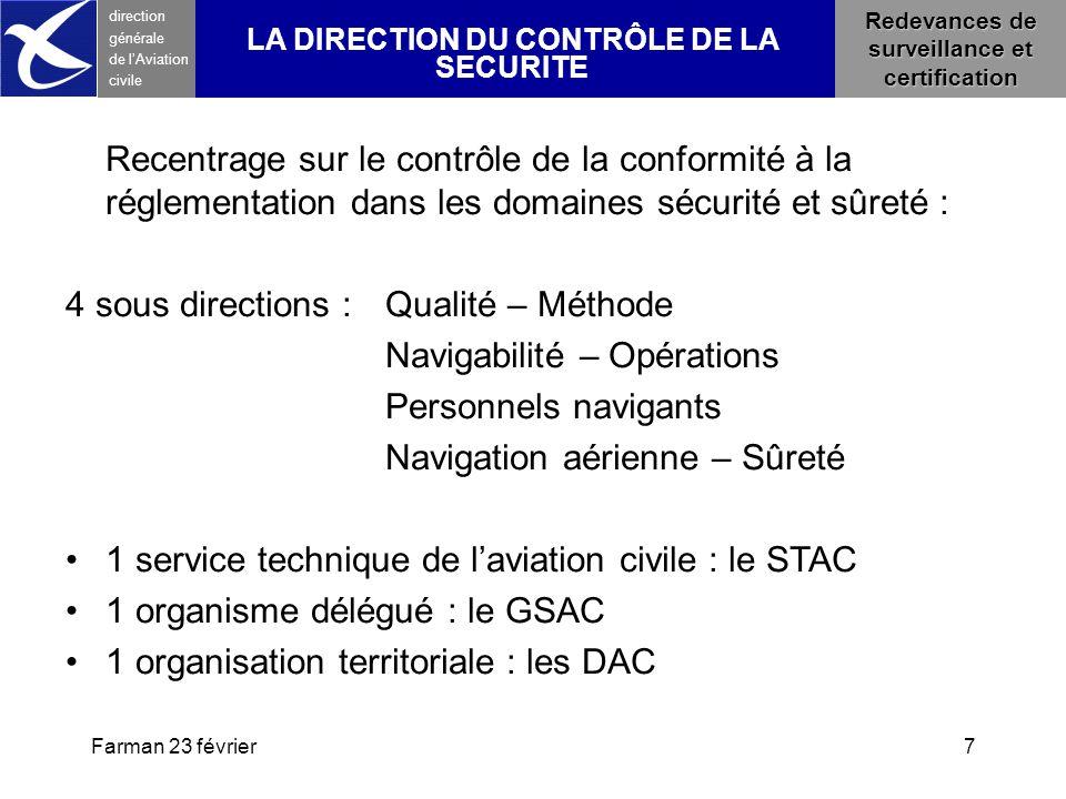4 sous directions : Qualité – Méthode Navigabilité – Opérations