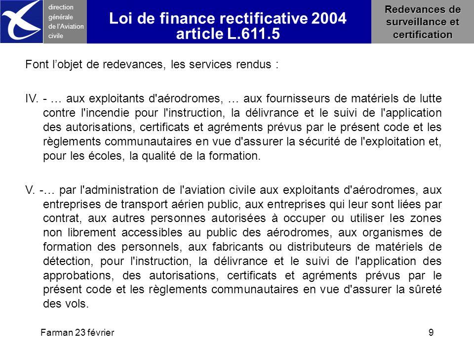 Loi de finance rectificative 2004 article L.611.5