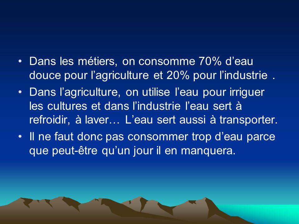 Dans les métiers, on consomme 70% d'eau douce pour l'agriculture et 20% pour l'industrie .