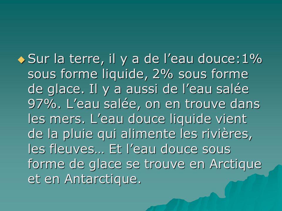 Sur la terre, il y a de l'eau douce:1% sous forme liquide, 2% sous forme de glace.