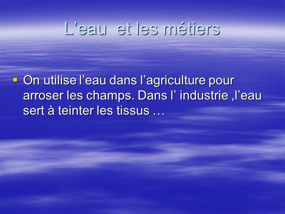 L'eau et les métiers On utilise l'eau dans l'agriculture pour arroser les champs.