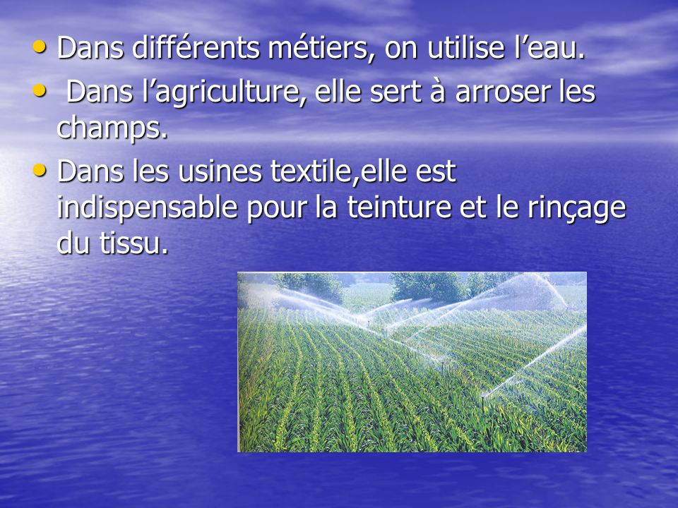 Dans différents métiers, on utilise l'eau.