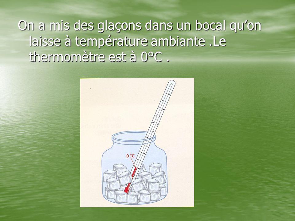 On a mis des glaçons dans un bocal qu'on laisse à température ambiante