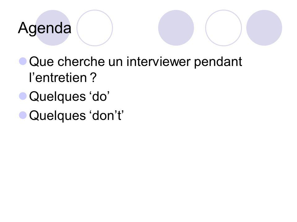 Agenda Que cherche un interviewer pendant l'entretien Quelques 'do'