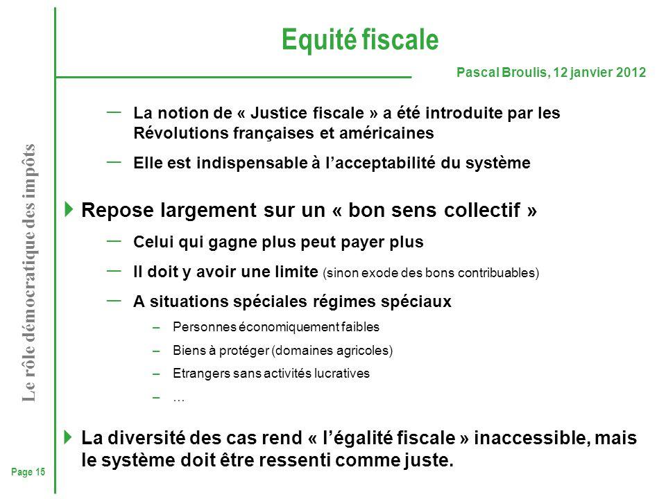 Equité fiscale Repose largement sur un « bon sens collectif »
