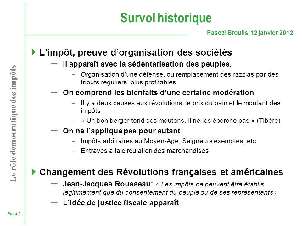 Survol historique L'impôt, preuve d'organisation des sociétés
