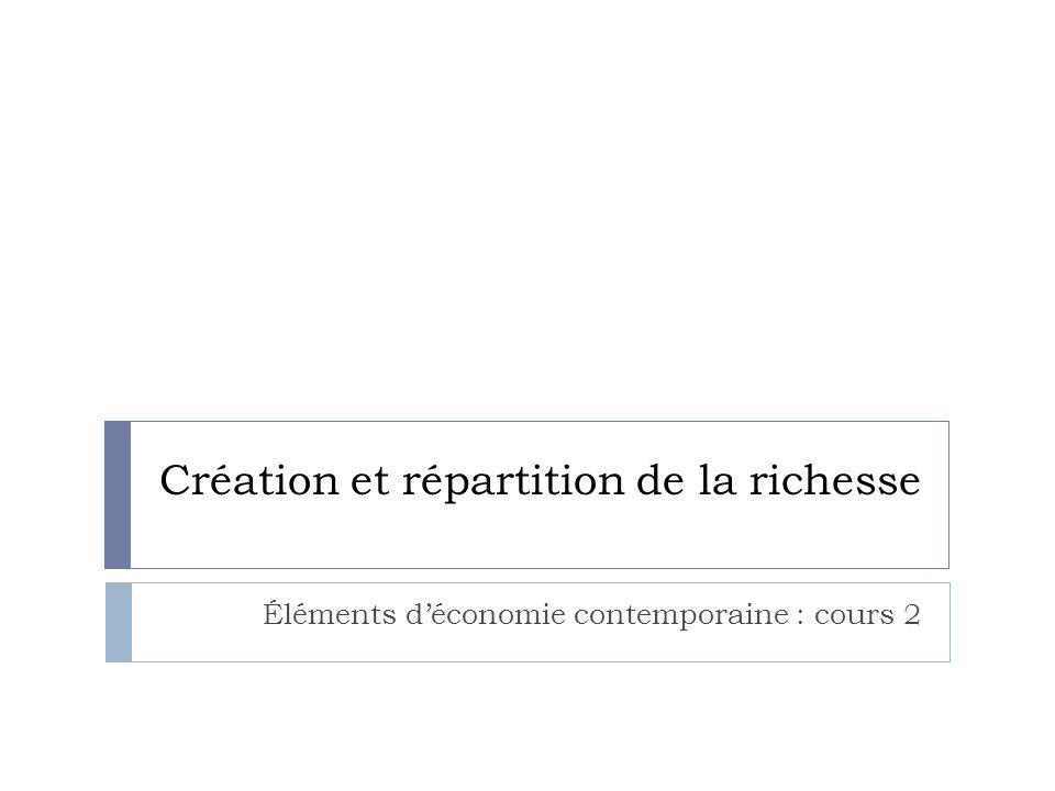 Création et répartition de la richesse