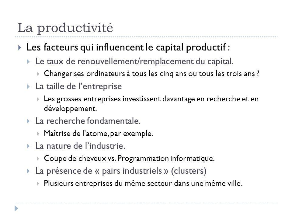 La productivité Les facteurs qui influencent le capital productif :