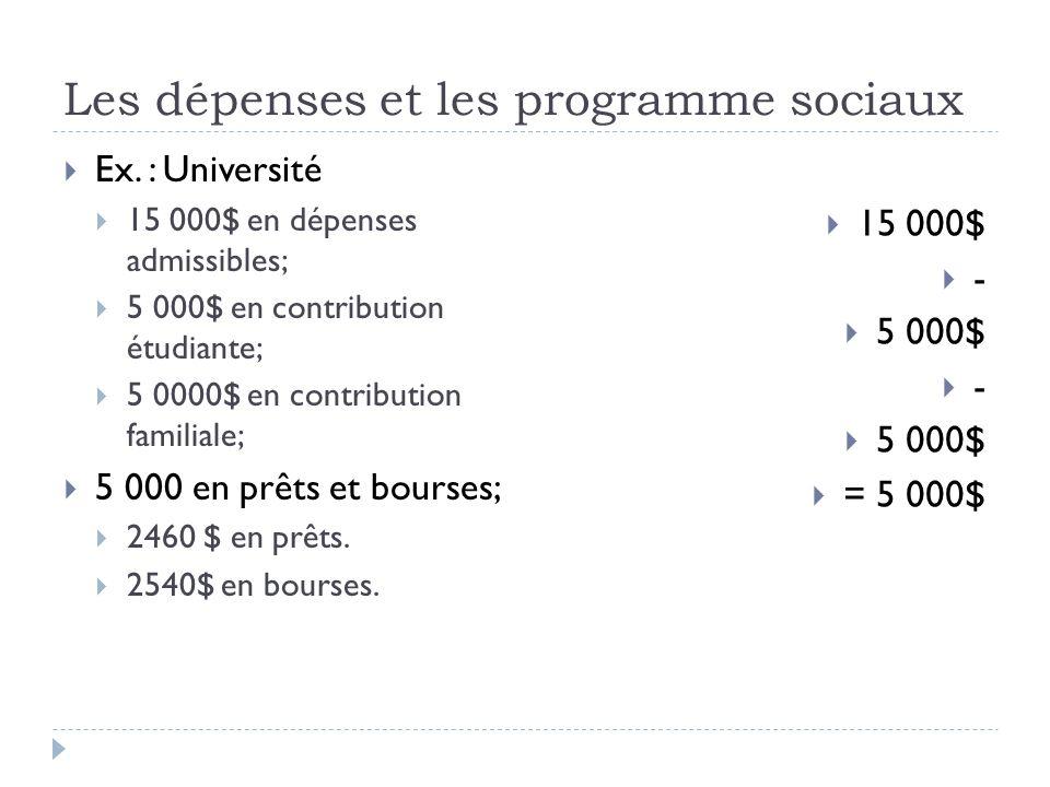 Les dépenses et les programme sociaux