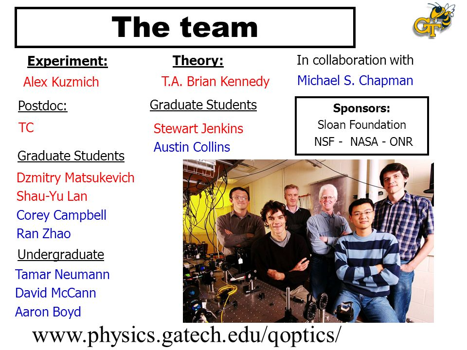 The team www.physics.gatech.edu/qoptics/ Experiment: Theory: