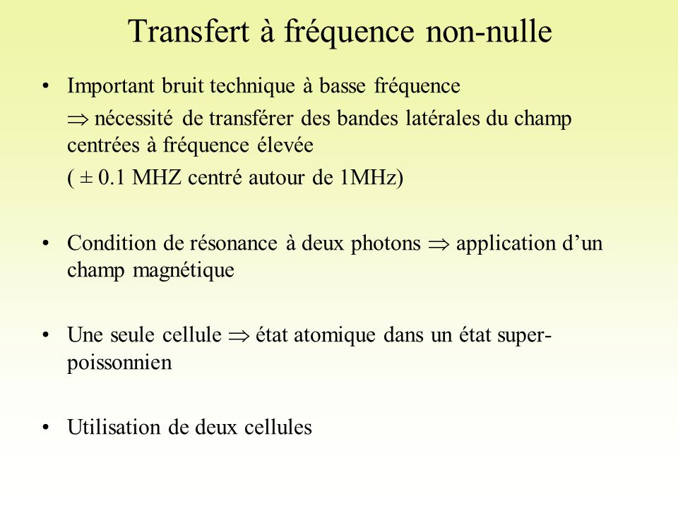 Transfert à fréquence non-nulle