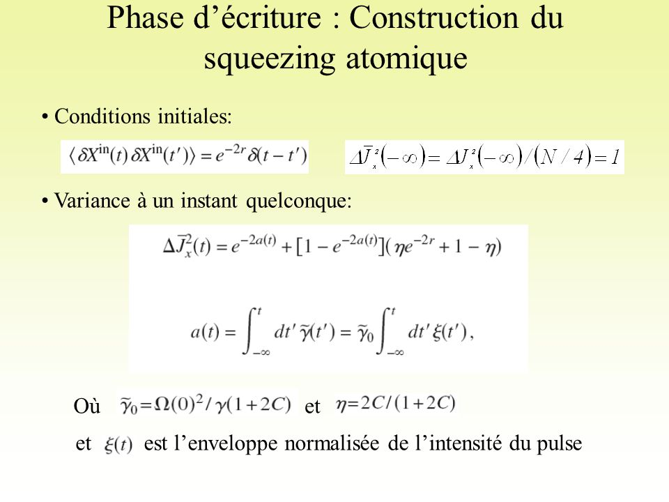 Phase d'écriture : Construction du squeezing atomique