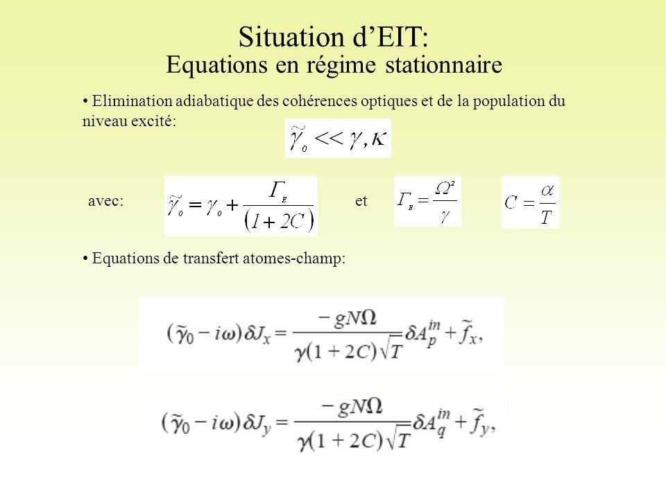 Situation d'EIT: Equations en régime stationnaire