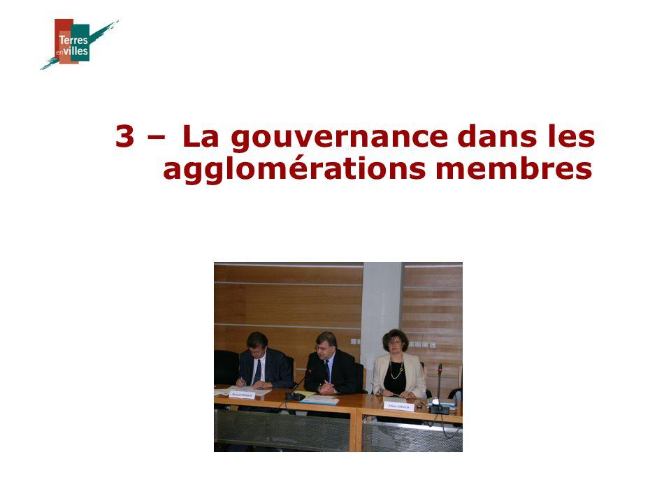 3 – La gouvernance dans les agglomérations membres